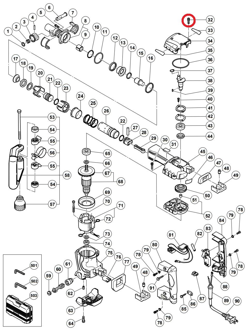 Śrubka uszczelniająca do Młota Wyburzeniowego HITACHI H 45FRV [983-162]